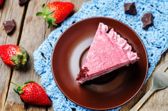 Strawberry mousse brownie cake Stock Photos