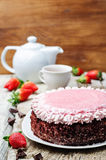 Strawberry mousse brownie cake Stock Images