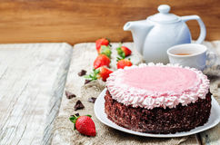 Strawberry mousse brownie cake Royalty Free Stock Images