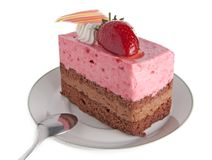 Strawberry mousse cake stock image