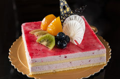 Strawberry mousse cake. Collocation of fruit and chocolate Royalty Free Stock Images