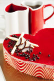 Strawberry mousse cake in the shape of a heart Royalty Free Stock Images