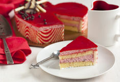Strawberry mousse cake in the shape of a heart Stock Image
