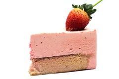 Strawberry mousse cake. On white background Royalty Free Stock Photography
