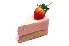 Strawberry mousse cake. On white background Stock Images