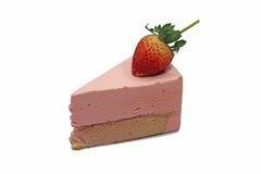 Strawberry mousse cake. On white background Stock Photos