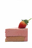 Strawberry mousse cake. On white background Royalty Free Stock Photos