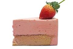 Strawberry mousse cake. On white background Royalty Free Stock Image