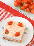 Strawberry mousse in the plate Stock Images