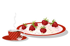 Strawberry mousse on plate Stock Images