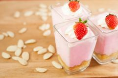 Strawberry mousse. With walnut nuts Stock Photo