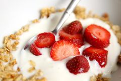 Strawberry and muesli royalty free stock photo