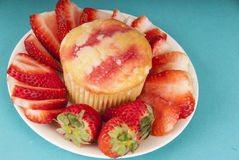 Strawberry Muffin with Strawberries on plate Royalty Free Stock Image