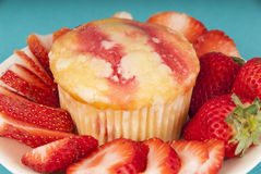 Strawberry Muffin with Strawberries on plate Stock Photos
