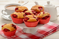 Strawberry muffins on the white plate. Stock Photo