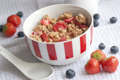 Strawberry oat clusters. With real strawberry pieces in a bowl royalty free stock photography