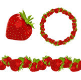 Strawberry. Object,garland and border Stock Image