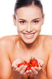 A strawberry offering. Stock Photos