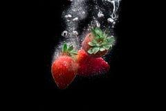 Strawberry On Black Stock Photography
