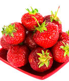 Strawberry On Red Plate Royalty Free Stock Image