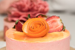 Strawberry and orange cake Royalty Free Stock Image