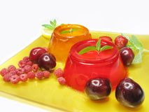 Strawberry and orange jelly dessert Stock Photos