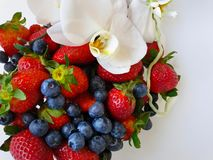 Strawberry With orchid on White Plate With Orchids stock photos