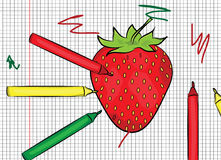 Strawberry painted on papper illustration Royalty Free Stock Images
