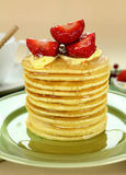 Strawberry Pancake Stack Stock Photos