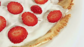 Strawberry pancake, sweet dessert stock footage