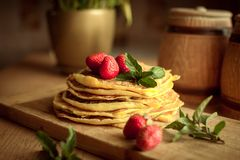 Strawberry pancakes home made food stock images