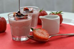 Strawberry panna cotta (2). Strawberry panna cotta with balsamico sirup Stock Photo