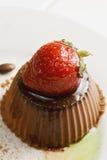 Strawberry on panna cotta Royalty Free Stock Image