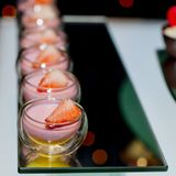 Strawberry panna cotta with strawberry topping Stock Photo