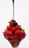 Strawberry Parfait Chocolatte Sauce Sweet Dessert  Stock Photo