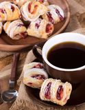 Strawberry Pastries and Coffee Stock Photography