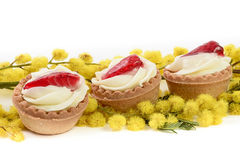 Strawberry pastry and mimosa Stock Images