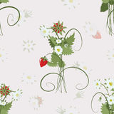 Strawberry pattern. Original  pattern with strawberry Stock Photo