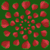 Strawberry pattern. On a green background Stock Photo