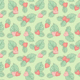 Strawberry pattern. Seamless pattern with strawberries and leaves, vector background Stock Photography