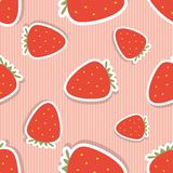 Strawberry pattern. Seamless texture with ripe red strawberry Stock Photos
