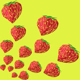 Strawberry pattern. Pattern of strawberries on a yellow background Stock Image