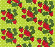 Strawberry pattern Vector. On green Background Royalty Free Stock Photo