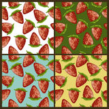 Strawberry patterns set Stock Photos