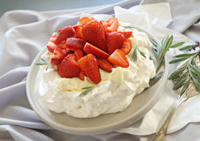 Strawberry Pavlova Stock Photo