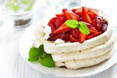 Strawberry pavlova cake Stock Photos
