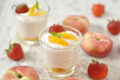 Strawberry and peach dessert Royalty Free Stock Photo
