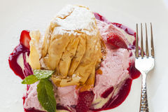 Strawberry phyllo crisp with strawberry mousse and berries Stock ...