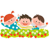 Strawberry picking. Lively children enjoying strawberry picking vector illustration