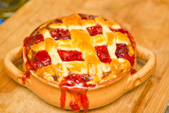 Strawberry pie. Lattice top american strawberry pie Royalty Free Stock Photo
